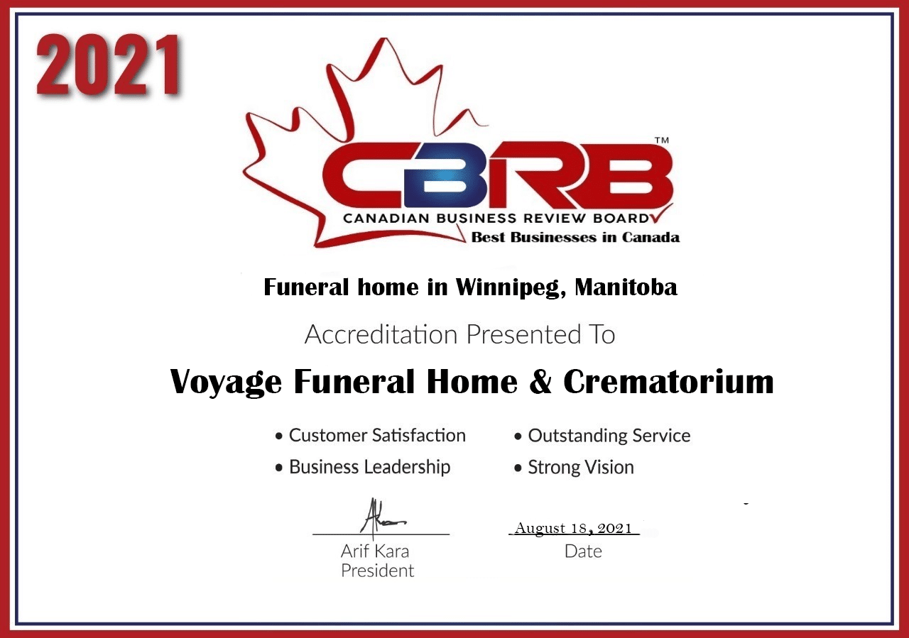 2021 CBRB Voyage Funeral Home and Crematorium Accreditation Certificate